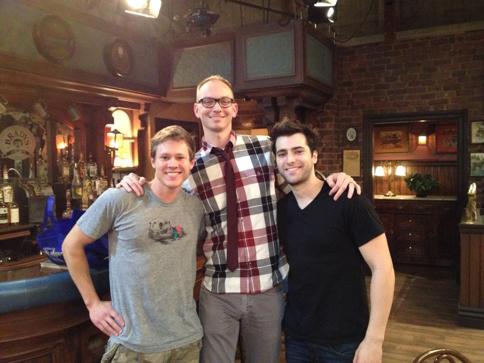 On the 'Days of Our Lives' set with actors Guy Wilson and Freddie Smith.