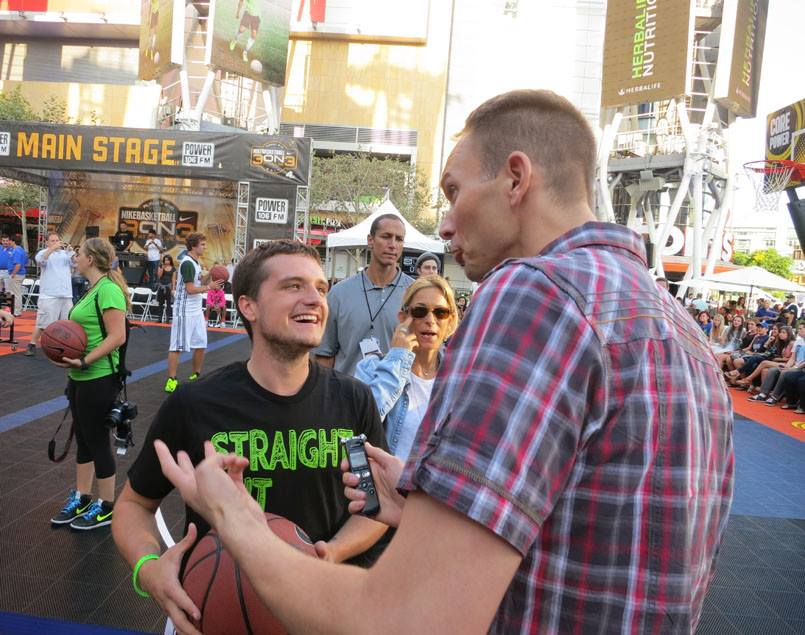 "Catching up with Josh Hutcherson at the annual Straight But Not Narrow"" Celebrity Basketball Game."