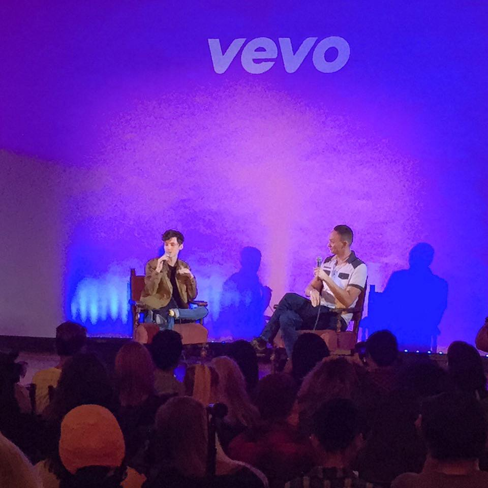 Moderating a live Q&A with recording artist Troye Sivan and his fans at the Hollywood Forever Masonic Lodge.