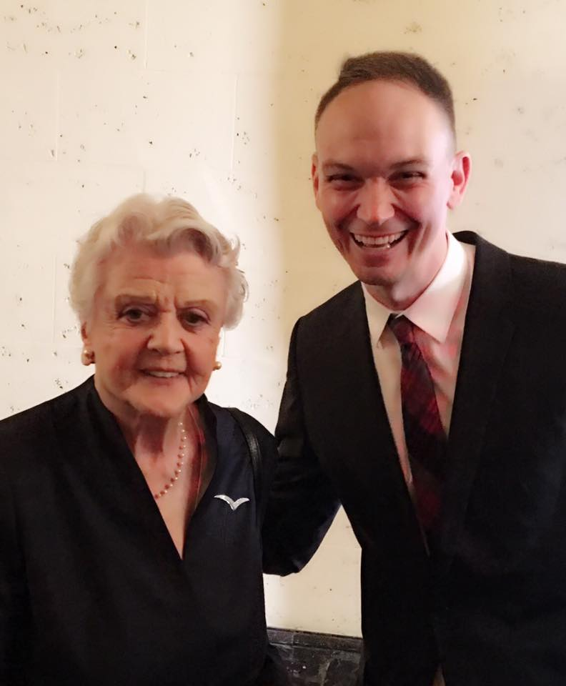 Talking with Angela Lansbury at the 2016 L.A. Press Club National Arts & Entertainment Journalism Awards.