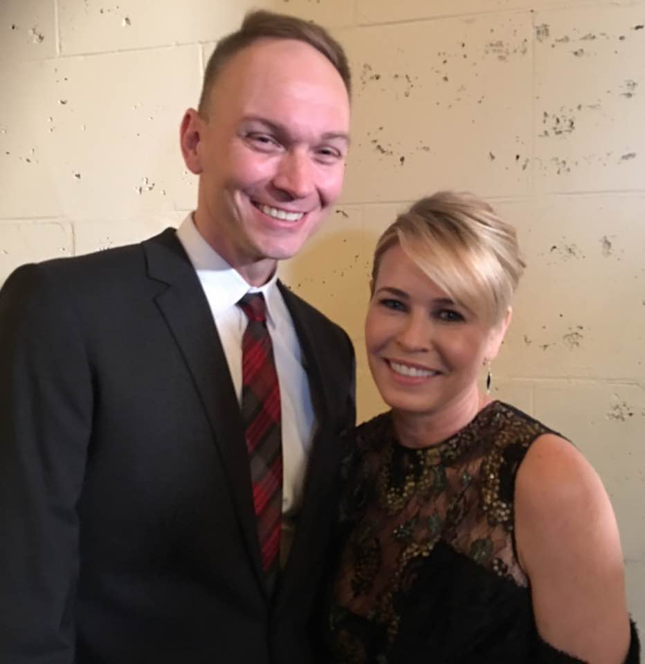 Meeting Chelsea Handler at the 2016 L.A. Press Club National Arts & Entertainment Journalism Awards.