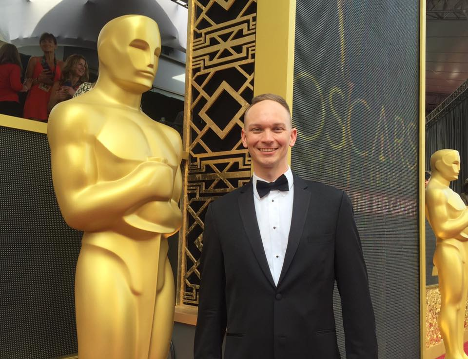 On the red carpet at the 2016 Academy Awards.