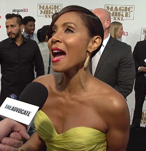 Interviewing Jada Pinkett Smith at the 'Magic Mike XXL' premiere.